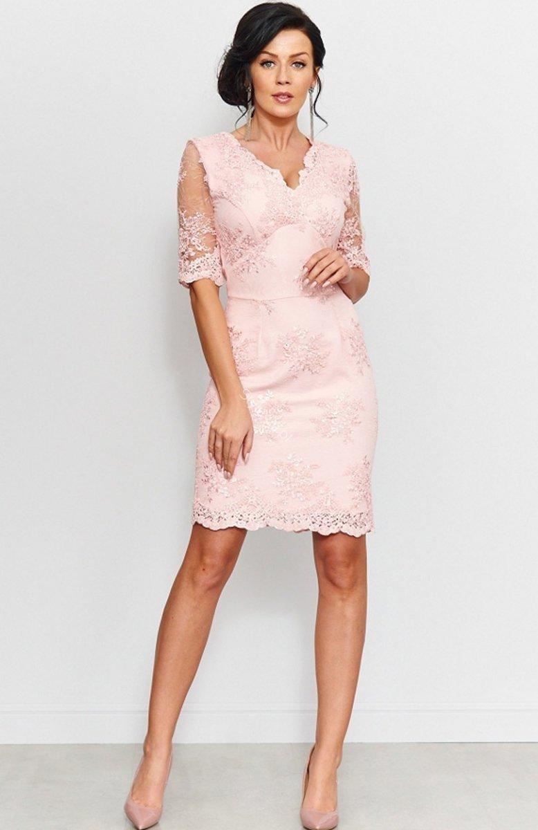 Wszystkie nowe Roco 0153 sukienka koronkowa pudrowy róż - Sukienki koronkowe SR43