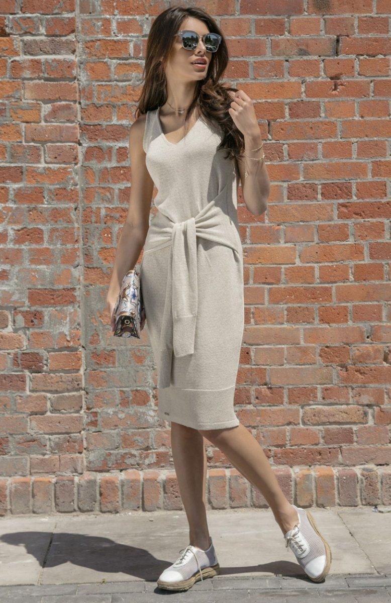 9f0d0684fb Fobya F541 sukienka dzianinowa beżowa - Sukienki dzienne - Sukienki ...