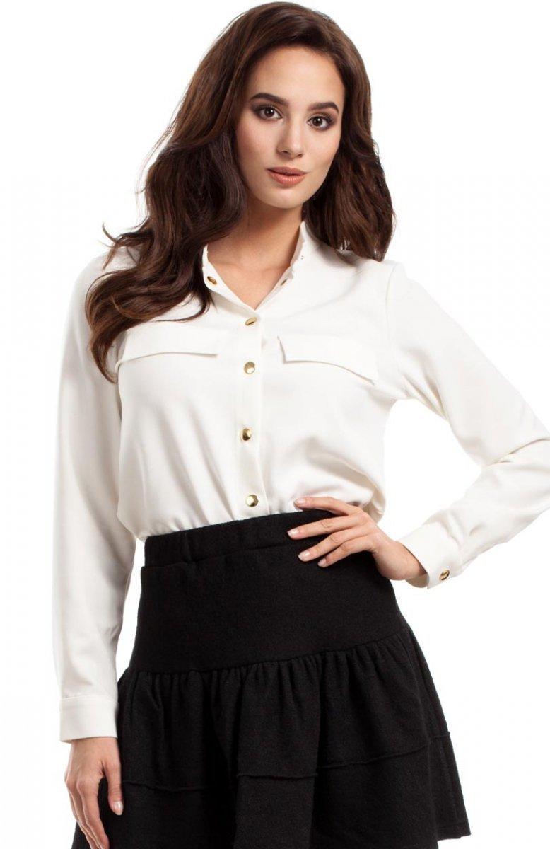 5e0979cdb8ef07 Moe MOE283 koszulka ecru - Eleganckie koszule damskie - Bluzki i ...