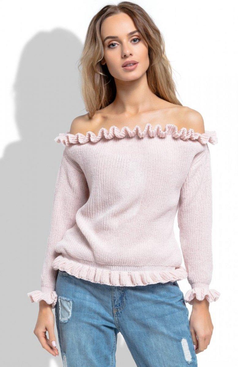 031e1d06732e46 FIMFI I255 bluzka pudrowy róż - Bluzki damskie - Swetry damskie ...