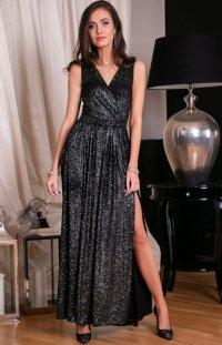 Wieczorowa sukienka z brokatem srebrnym 224