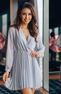 *Lola Fashion plisowana sukienka szara