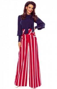 Eleganckie spodnie z szerokimi nogawkami w pasy