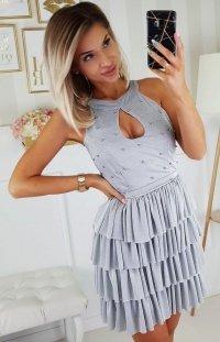 Błyszcząca mini sukienka z falbankami 2198-03