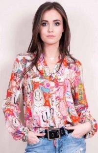 Kolorowa bluzka z dekoltem różowa 0056
