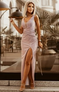 Wieczorowa długa sukienka z brokatem brudny róż 2230