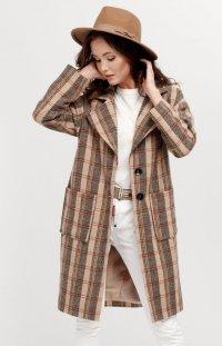 Oversizowy płaszcz w kratę 0014/A07