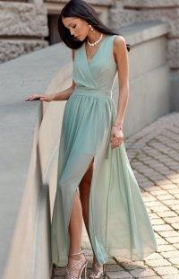 Długa szyfonowa sukienka 0213 miętowa