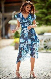 Sukienka letnia w kolorowe kwiaty granatowa A308