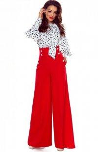 Eleganckie czerwone spodnie z szerokimi nogawkami