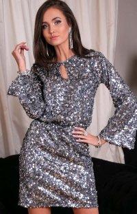 Cekinowa sukienka z wiązaniem srebrna 0267