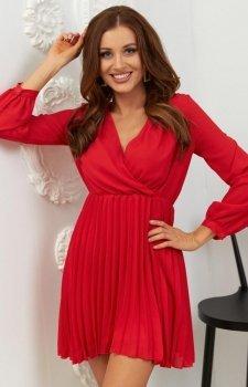 Lola Fashion plisowana sukienka czerwona