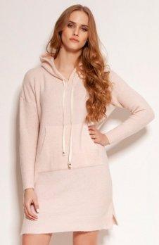 Dzianinowa sukienka kangurka różowa SWE141
