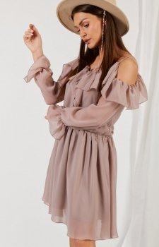Zwiewna sukienka z falbanami cappucino L329