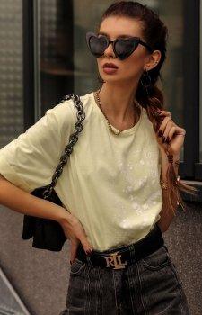 Bawełniany t-shirt z nadrukiem damski