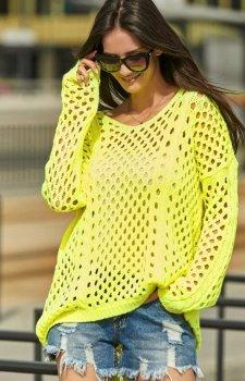 Ażurkowy sweter neonowy żółty S59