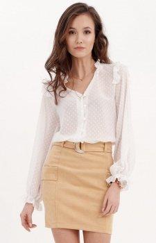 Delikatna biała bluzka z falbankami 0058
