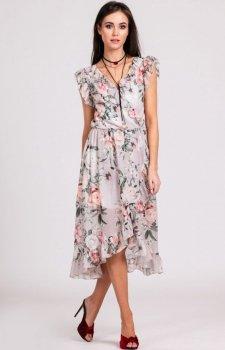 Szyfonowa sukienka w kwiaty z falbankami 252/D02