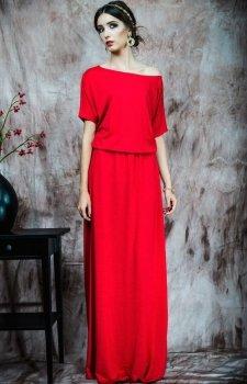 Kasia Miciak design czerwona długa sukienka