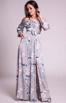 Kwiatowa sukienka maxi z odkrytymi ramionami 245