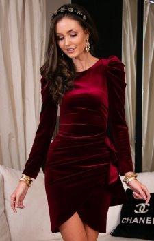 Wieczorowa bordowa sukienka z bufkami 270