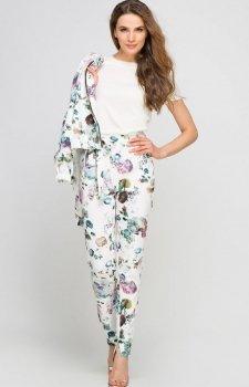 Lanti SD113 spodnie ecru kwiaty