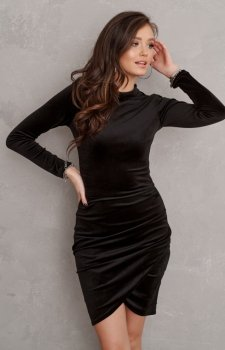 Elegancka welurowa sukienka czarna 0317