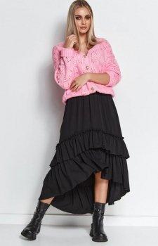 Długa spódnica z falbanami czarna M651