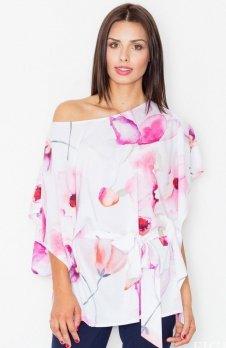 Figl M501 bluzka różowe kwiaty