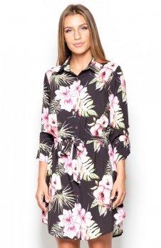 Katrus K403 koszula ciemne kwiaty