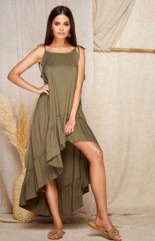 Asymetryczna letnia sukienka khaki L368A