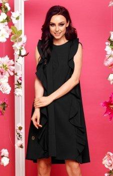 Oversizowa sukienka z falbanami czarna L298