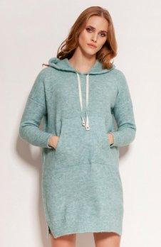 Dzianinowa sukienka kangurka miętowa SWE141