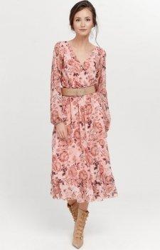 Sukienka midi z falbaną w kwiaty 0241/R10