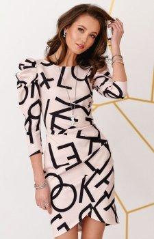 Ołówkowa sukienka z bufkami efektowny wzór 0279/B08