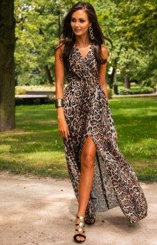 Szyfonowa długa sukienka letnia w panterkę 0209 D40