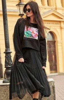 Plisowana czarna długa spódnica NU183