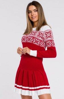 Sweterkowa sukienka święta red MXS01