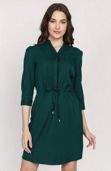 Sukienka ze szczypankami zielona SUK149