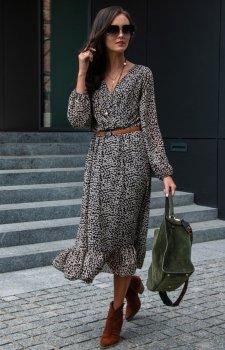 Sukienka midi w panterkę 0241/D41