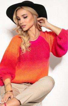 Oversizowy sweter ombre orange F1157