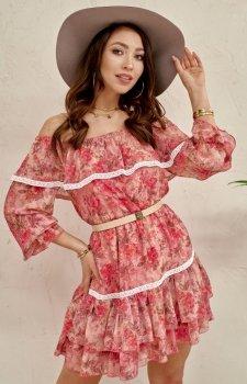 Kobieca sukienka hiszpanka w kwiaty 0328/D97