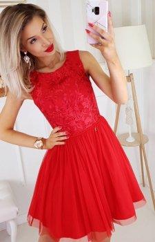 Czerwona sukienka z tiulem 2179-02