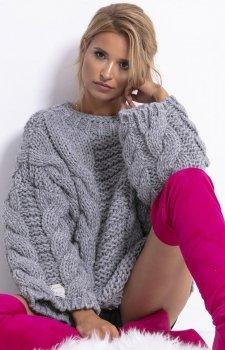 Ciepły sweter z wełny i alpaki szary F780