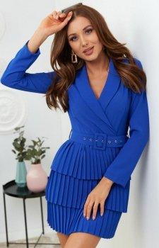 Kopertowa sukienka z plisowaniem chabrowa