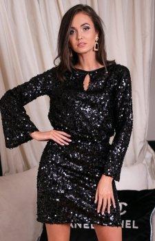 *Cekinowa sukienka z wiązaniem czarna 0267