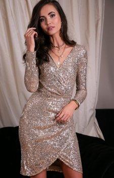 Wieczorowa sukienka cekinowa jasno beżowa 0265