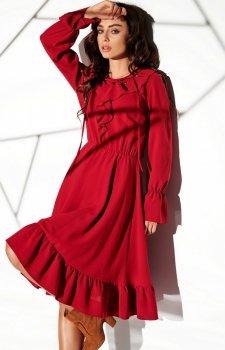 Rozkloszowana sukienka z wiązaniem L313