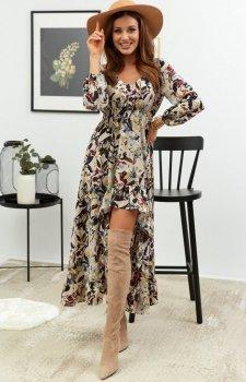 Asymetryczna sukienka maxi w jasne kwiaty Lola