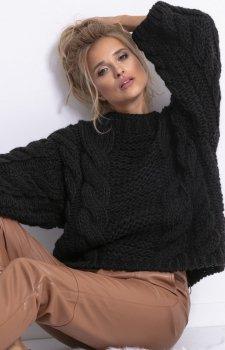 Ciepły sweter z wełny i alpaki czarny F780